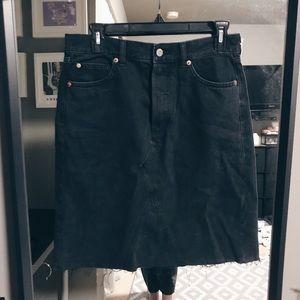 H&M Black Midi Jean Skirt